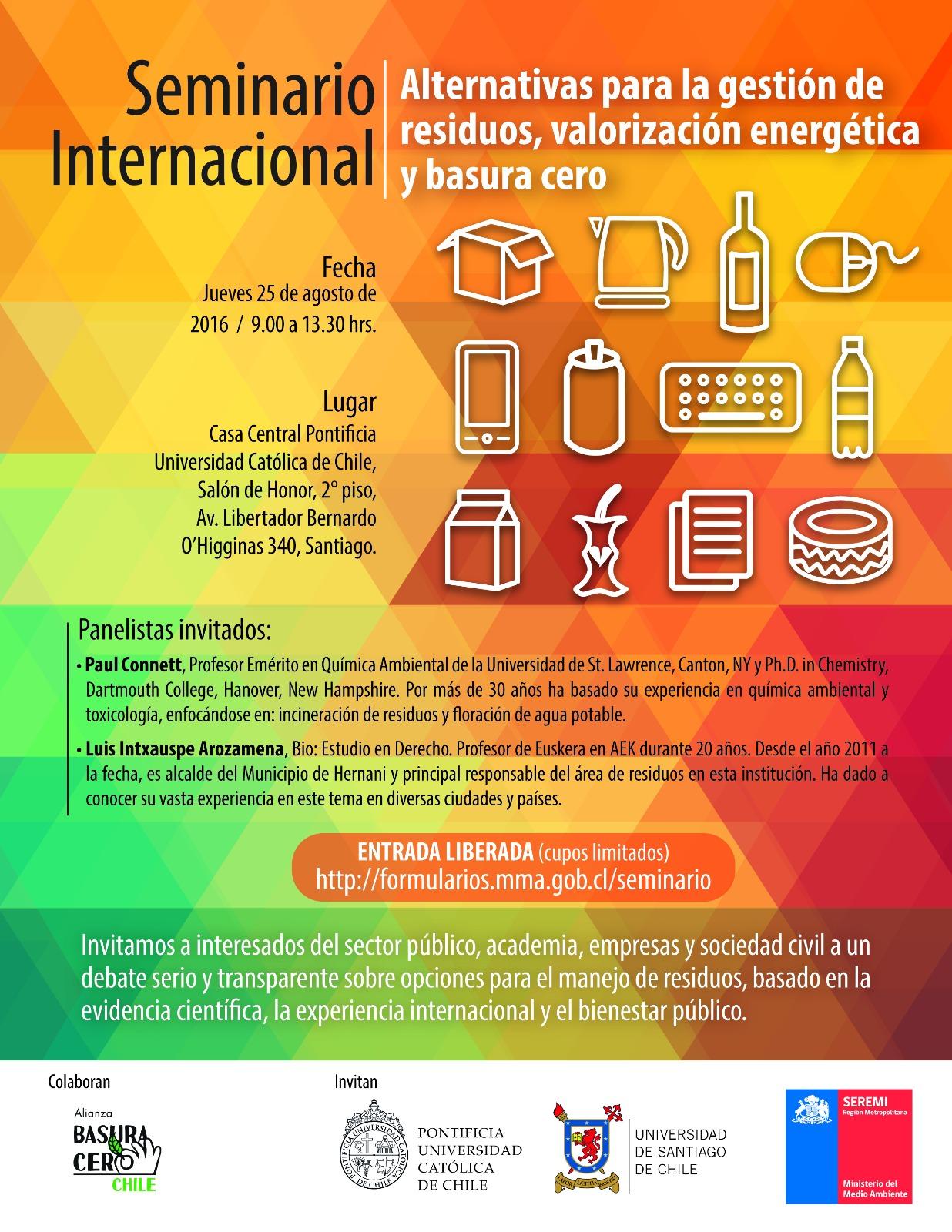 """Expertos llegan a Chile a promover modelos y experiencias basados en el concepto de """"basura cero"""" como alternativas a una gestión sustentable de residuos en Seminario Internacional"""