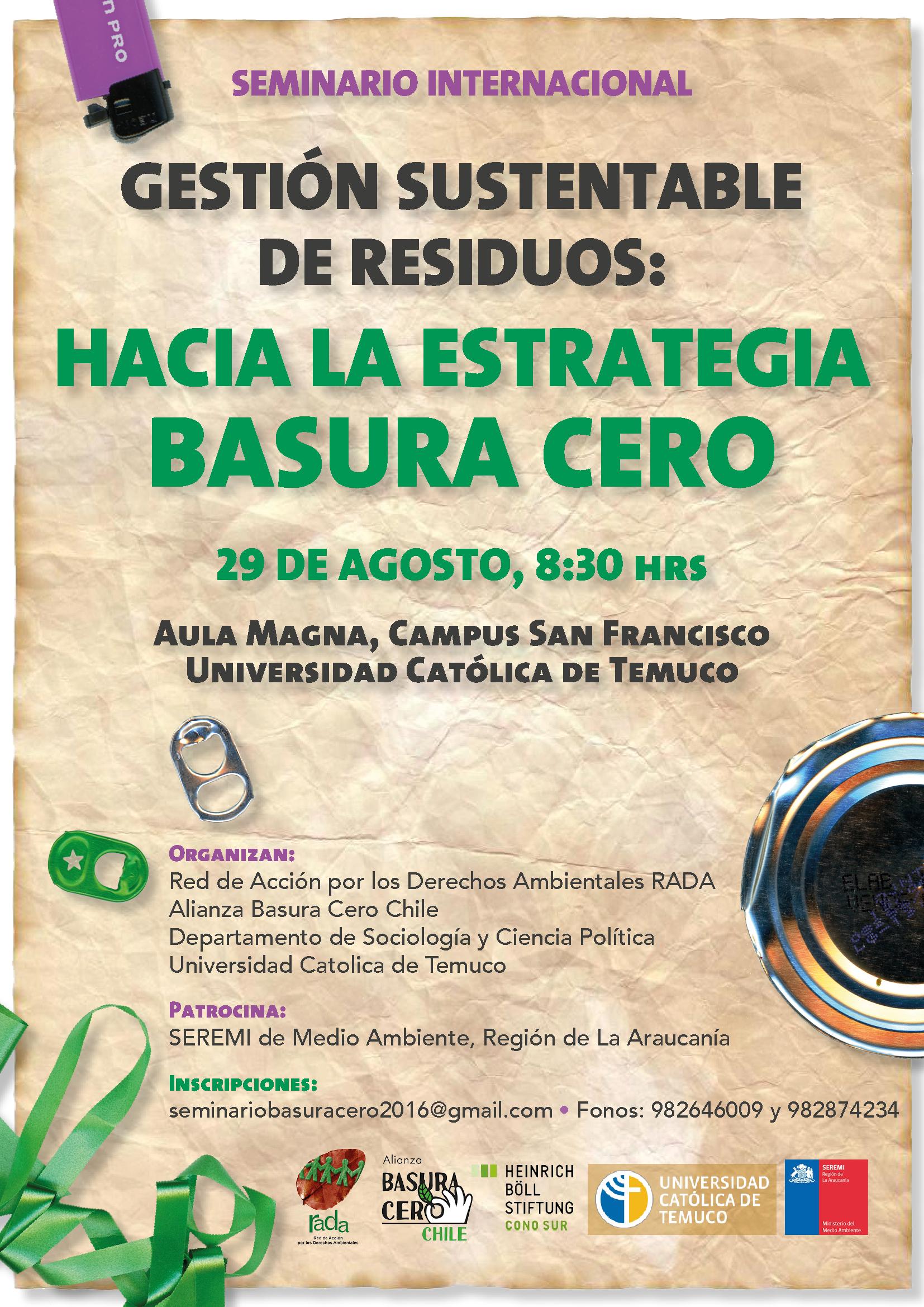 """Seminario Internacional """"Gestión Sustentable de Residuos: Hacia la Estrategia Basura Cero"""""""